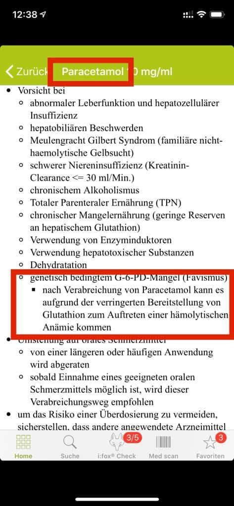 Nebenwirkungen von Paracetamol auch bei G-6-PD-Mangel